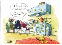 Peter Gaymanns Demensch kalender 2013  Juli_Auf_welchen_Zettel_hab_ichs_mir_denn_notiert