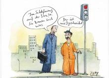 Peter Gaymanns Demensch kalender 2013  März_Im_Schlafanzug_auf_der_Straße