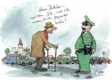 Peter Gaymanns Demensch kalender 2014  März_Herr_Doktor_wissen_sie_wo_ich_mein_Auto_geparkt_habe