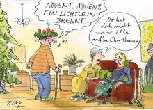 Peter Gaymann demensch Kalender  2017  Dezember_Advent_Advent_ein_Lichtlein_brennt