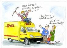 Peter Gaymann demensch Kalender  2018 Juli_Hoch_auf_dem_gelben_Wagen